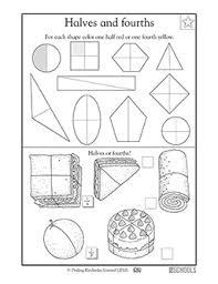 printable fraction worksheets for grade 4 1st grade math worksheets finding 1 2 and 1 4 part 2 greatschools