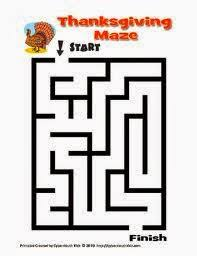 7 easy thanksgiving mazes for children