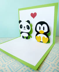 panda and penguin in pop up card 7 85 via etsy wedding