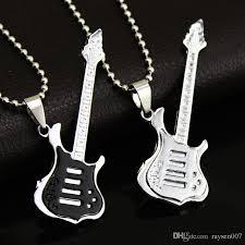 guitar necklace pendants images Wholesale fashion cool guitar pendant necklace titanium steel jpg