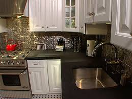 How To Install Ceiling Tiles As A Backsplash HGTV - Tin ceiling backsplash
