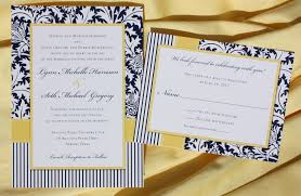 Navy Blue Wedding Invitations Navy Blue U0026 Yellow Damask Stripes And Dots Wedding Invitations