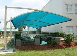 cool white iron column cantilever blue pool shade outdoor canopy