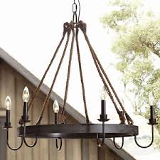 Candle Pendant Light Rustic Rope Iron Candle Chandelier Ceiling Fixture Vintage Pendant