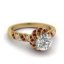 white gold engagement ring with yellow gold wedding band ruby twisted halo cut diamond ring in 14k yellow gold