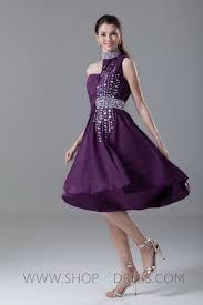 shop a line high neck knee length elastic woven satin purple prom