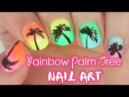 rainbow palm tree nails for summer youtube
