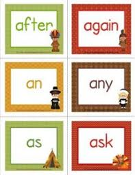 thanksgiving dolch sight word flashcards grade a wellspring