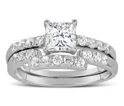 wedding cut rings images 1 carat princess cut diamond wedding ring set in white gold jpg