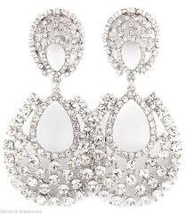clip on chandelier earrings big rhinestone chandelier clip on earrings 3 costume