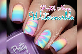 pastel neon rainbow watermarble u0026 gradient nail art tutorial