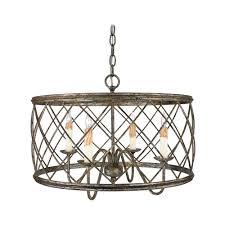 Drum Light Pendant Drum Pendant Light With Silver Cage Shade In Century Silver Leaf