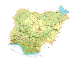 map of nigeria africa large elevation map of nigeria with roads railroads cities and