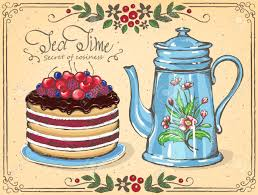 illustration tea time with berry cake and teapot floral frame
