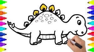 how to draw dinosaur coloring pages video for kids learning