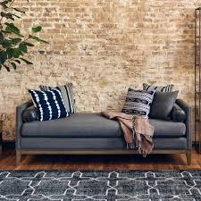 mercury double chaise sofa felt upholstery and bronze nailheads