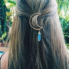 hair barrette healing hair barrette gold crescent moon gemstone hair