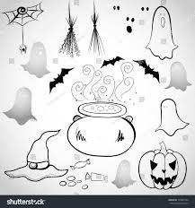 set hand drawn halloween doodles spooky stock vector 153885164