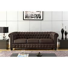 canap chesterfield ancien chesterfield canapé en cuir et simili 3 places 213x88x75 cm