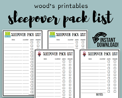 Household Items Checklist by Children U0027s Sleepover Packing List Pdf Printable Sleepover