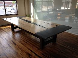 concrete wood slabs steel conference table seth cluley