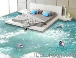 3 Dophins Play in the Water Sea Ocean 00009 Floor Decals 3D