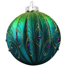 ribbed glass peacock christmas tree bauble