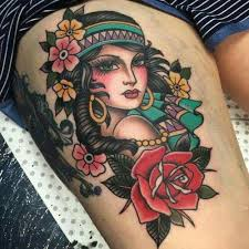 25 trending traditional thigh tattoo ideas on pinterest