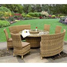 patio table lazy susan modena 8 10 person rattan garden dining set with lazy susan