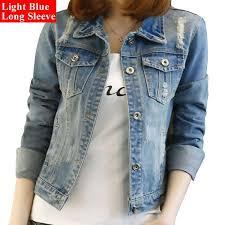 light blue cropped jean jacket women cropped jean jacket light blue bomber short denim casual