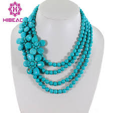 necklace stone beads images Splendid 4 rows blue stone beads necklace stone flower fancy jpg