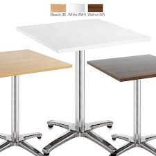 White Bistro Table Square Cafe Bistro Tables With 4 Leg Chrome Base In Beech