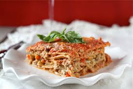 Meat Lasagna Recipe With Cottage Cheese by Cookin U0027 Canuck Healthy Lasagne Recipe With Turkey Pesto U0026 Peppers