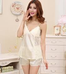 ladies silk satin pajama set lace pyjama set sleeveless