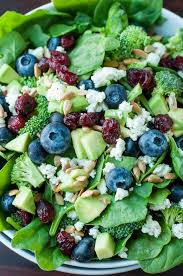 blueberry broccoli spinach salad with poppyseed ranch peas and