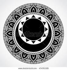 black white ornamental mandala symbol sun stock vector 474351328
