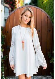 bell sleeve shift dress with lace details falicity escloset com