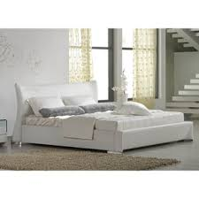 Overstock Platform Bed White Bed Frame King Hd Eastern King White Bonded Leather Platform