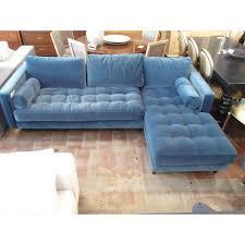 blue velvet sectional sofa pacific blue velvet sectional sofa chairish