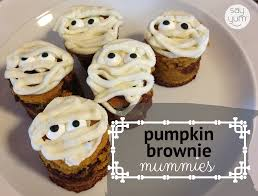 halloween dessert mummy pumpkin swirl brownies say yum