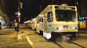 light rail baltimore md mta maryland light rail bwi airport bound 2 car abb lrvs