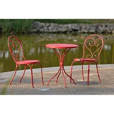 small garden bistro table and chairs mainstays 3 piece small space scroll outdoor bistro set red seats