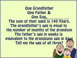 grandfather s whatsapp riddle what are the ages of grandfather father and son