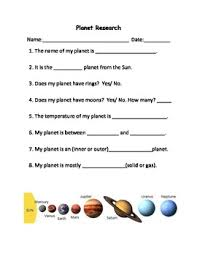 planet research project worksheet by jennifer brown tpt
