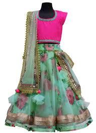 Sage Green Buy Fayon Sage Green Net Kids Lehenga Choli Girls Lehenga Online