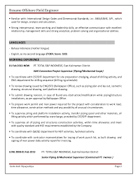 Construction Engineer Resume Sample Resume Offshore Field Engineer