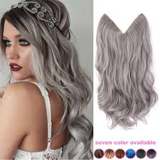 invisible hair 20 inch grey silver hair no clip hair extension
