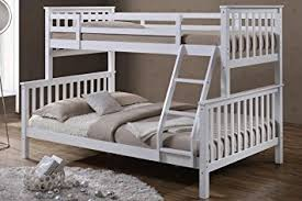 Oscar White Solid Pine Wood Triple Sleeper Bunk Bed Single - Double bunk beds uk