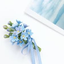 blue boutonniere forget me not boutonniere blue flower boutonniere blue