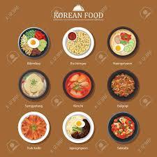 korean design set of korean food flat design asia street food illustration